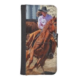 Afbeelding van een Paard en een Veedrijfster iPhone 5 Portemonnee Hoesje