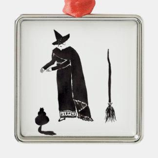 Afgeleide Heks Zilverkleurig Vierkant Ornament