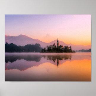 Afgetapt Slovenië bij Zonsondergang Poster