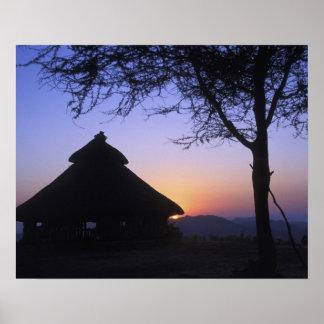 Afrika, Ethiopië, Omo riviergebied, Zonsondergang  Poster