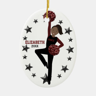 Afrikaanse Amerikaanse Ploeg Pom in Zwart & Keramisch Ovaal Ornament