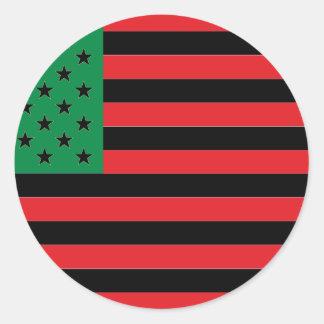 Afrikaanse Amerikaanse Vlag - Rode Zwart en Groen Ronde Sticker
