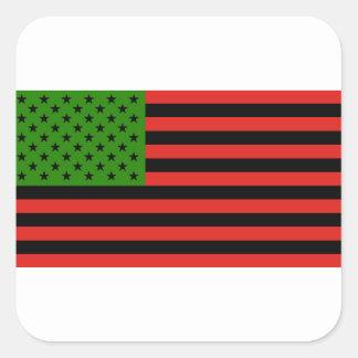 Afrikaanse Amerikaanse Vlag - Rode Zwart en Groen Vierkante Sticker
