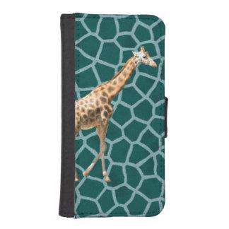 Afrikaanse Giraf op Blauwe Camouflage iPhone 5 Portemonnee Hoesje