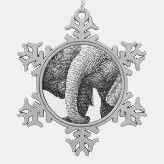 Afrikaanse Olifanten Tin Sneeuwvlok Ornament