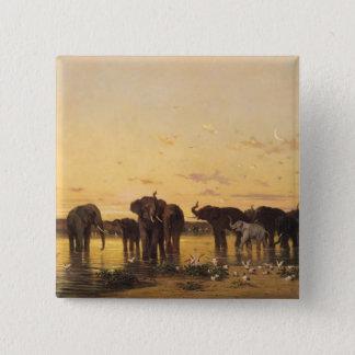 Afrikaanse Olifanten Vierkante Button 5,1 Cm