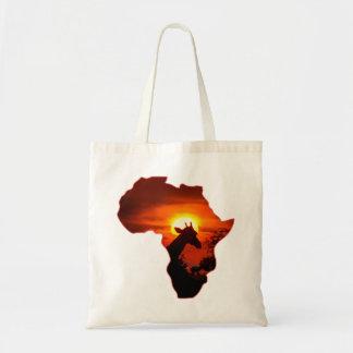 Afrikaanse Zonsondergang met het Silhouet van de Budget Draagtas