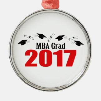 Afstudeerder 2017 van MBA (Rood) Pet en Diploma's Zilverkleurig Rond Ornament