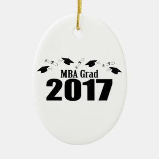 Afstudeerder 2017 van MBA (Zwart) Pet en Diploma's Keramisch Ovaal Ornament