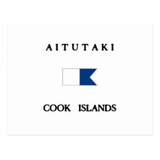 Aitutaki Alpha- de Cook Eilanden duikt Vlag Briefkaart