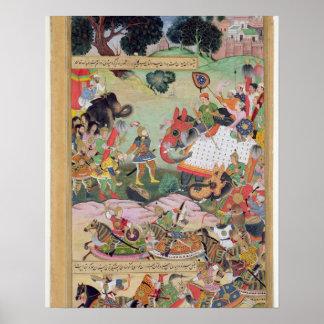 Akbar die de trommels en normen gevangen F ontvang Poster