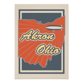 Akron, Ohio de Druk van de Kunst - het Kunstwerk 12,7x17,8 Uitnodiging Kaart