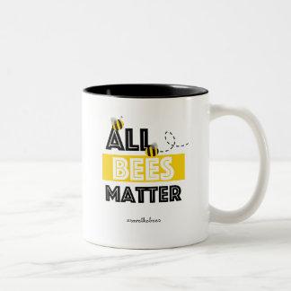 Al Kwestie van Bijen - Hashtag bewaart de Bijen Tweekleurige Koffiemok