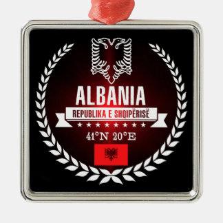 Albanië Zilverkleurig Vierkant Ornament