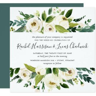 Albasten BloemenUitnodiging | van het Huwelijk Kaart