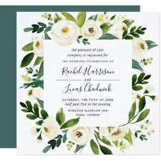 Albasten BloemenUitnodiging | van het Huwelijk van Kaart