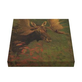 Albert Bierstadt, Studie van een Amerikaanse eland Canvas Bedrukken