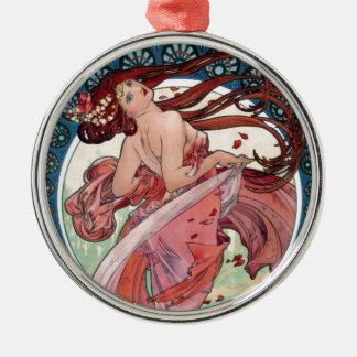 Alfons Mucha 1898 Dans Zilverkleurig Rond Ornament