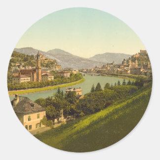 Algemeen Uitzicht van Salzburg, Oostenrijk Ronde Sticker