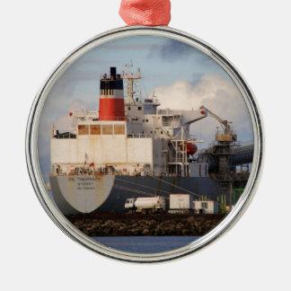 Algemeen vrachtschip zilverkleurig rond ornament