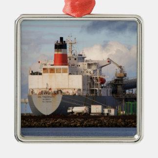 Algemeen vrachtschip zilverkleurig vierkant ornament
