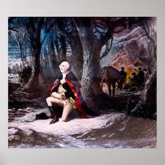 Algemeen Washington bidt bij Vallei smeedt, PA Poster
