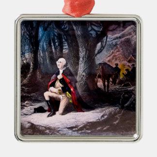 Algemeen Washington die bij Vallei bidden smeedt, Zilverkleurig Vierkant Ornament