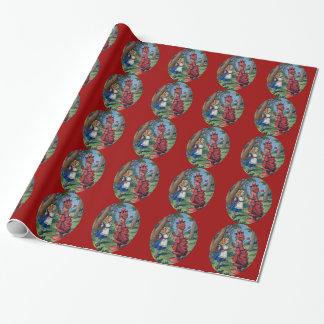 Alice & de Rode Koningin Tiled Cadeaupapier