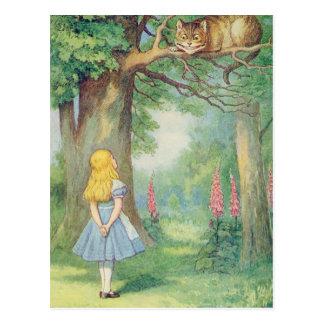 Alice en de Kat van Cheshire Briefkaart