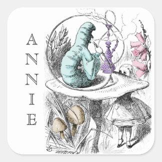Alice in de Naam van de Douane van Caterpillar van Vierkant Sticker