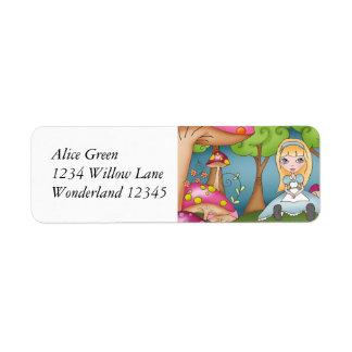 Alice in het Adresetiket van het Sprookjesland Retouretiket