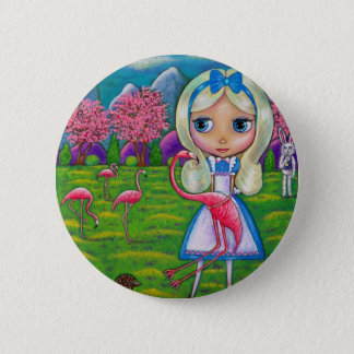 Alice in Sprookjesland en de Flamingo's Ronde Button 5,7 Cm