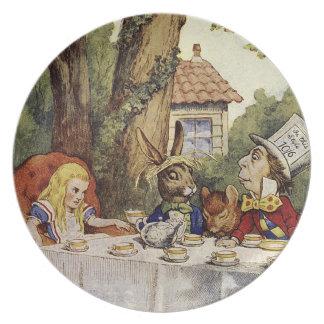 Alice in sprookjeslandbord voor een gek melamine+bord