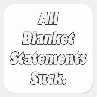 Alle Algemene Verklaringen zuigen Vierkante Sticker