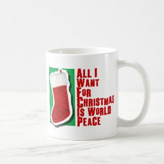Alle wil ik want Kerstmis de Vrede van de Wereld Koffiemok