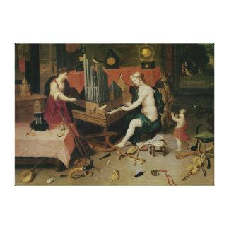 Allegorie van Hoorzitting, detail van een organist Canvas Print