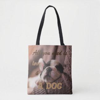 Allen u wenst is liefde en een hond draagtas
