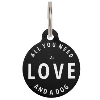 """""""Allen u wenst is Liefde en een Hond """" Huisdierpenning"""