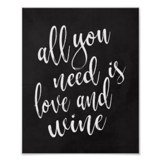 Allen u wenst is liefde en wijn8x10 bordteken poster