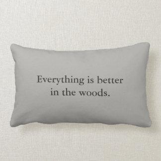 Alles is beter in het bos - grijs hoofdkussen lumbar kussen