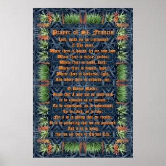 Aloë Vera Border met Gebed van St Francis Poster