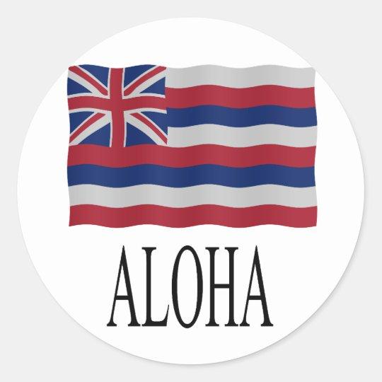Aloha + Hawaiian flag Ronde Sticker