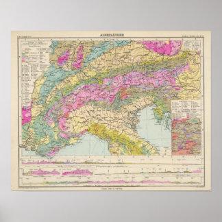 Alpenlander - de Kaart van de Atlas van de Alpen Poster