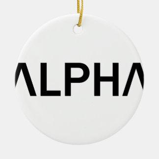 Alpha- (ZWART) Rond Keramisch Ornament