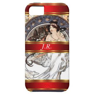 Alphonse Mucha en Rood voegt uw initialen toe Tough iPhone 5 Hoesje