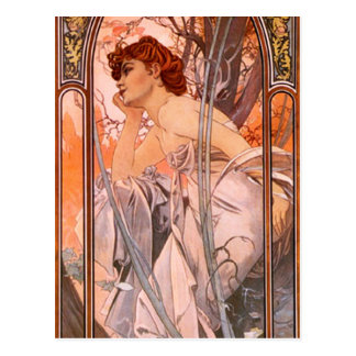 Alphonse Mucha Evening Reverie Postcard Briefkaart