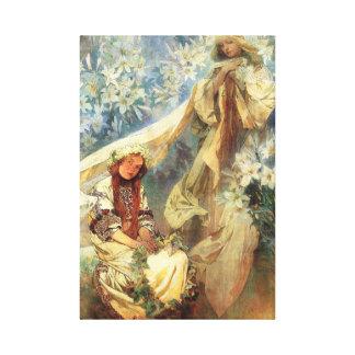 Alphonse Mucha Madonna van de Lelies Canvas Afdrukken