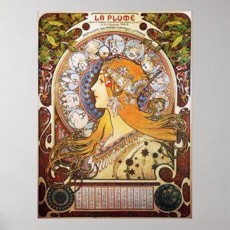 Alphonse Mucha. Pluim van La/Dierenriem, 1896. Poster