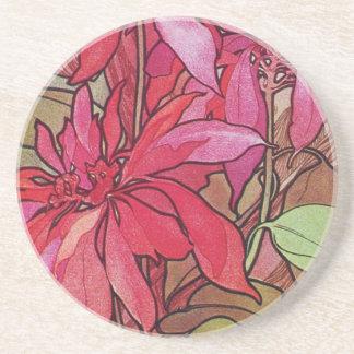 Alphonse Mucha Poinsettias Christmas Coasters Zandsteen Onderzetter