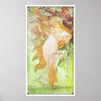 Alphonse Mucha Printemps/de Lente, 1896 Poster